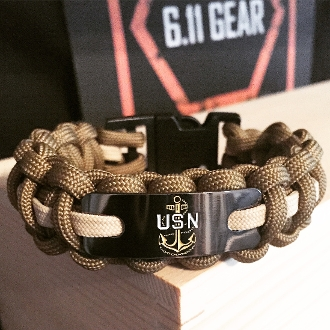 Us Navy Chief Engraved Plate Navy Blue Wstripe Paracord