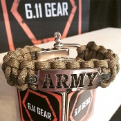 US Army - Laser Cut Coyote Brown/OD stripe Paracord Bracelet