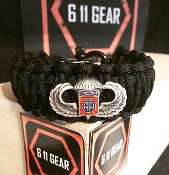 82nd Airborne Basic Jump Wings King Cobra Paracord Bracelet