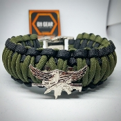 SWAT Operator Silver Insignia -Dual King Cobra paracord Bracelet