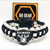 Oakland Raiders- Black/Silver/White stripe Paracord Bracelet